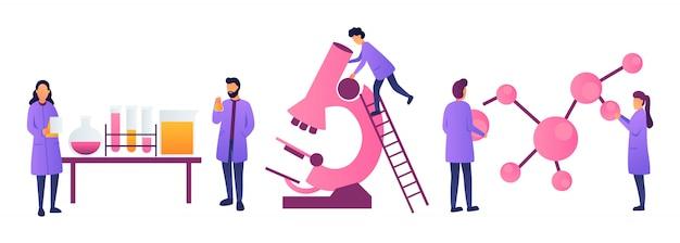Wetenschappers werken in wetenschappelijke experimenten met medische chemische of biologische laboratoria. onderwijsconcept biologie, natuurkunde en scheikunde. ingenieurs die onderzoek en experimenten doen. - voorraad vector