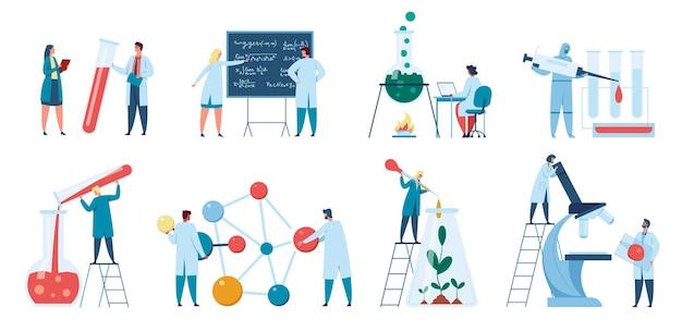 Wetenschappersonderzoek of biologen die in laboratorium werken. laboratoriummedewerker in witte jassenset
