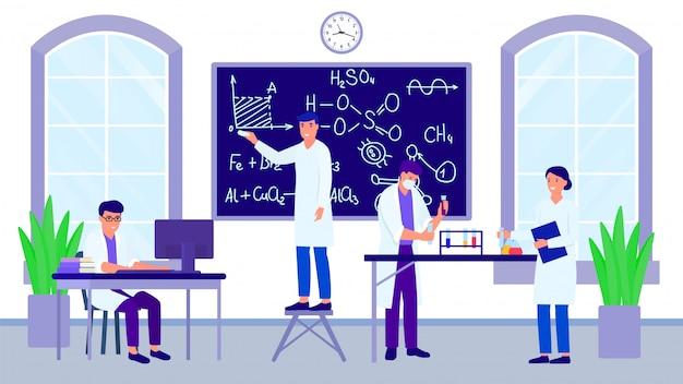 Wetenschaps chemisch laboratorium en groep wetenschappers of studenten met leraarsillustratie.