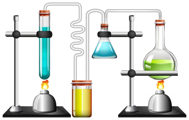 Wetenschapsapparatuur op wit