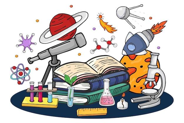 Wetenschapsboek over ruimte, vectorillustratie. cartoon onderwijsconcept met raket, planeet, ster en handgetekende satelliet. creatief ontwerp over school-, chemische en biologie-elementen.