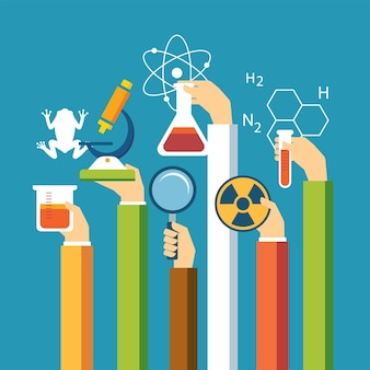Wetenschapsconcept, fysica, chemie, biologie vlak ontwerp