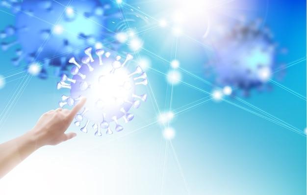 Wetenschapsillustratie met menselijke hand die op model van coronavirus richt.