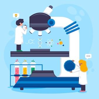 Wetenschapskarakters die met microscoop werken
