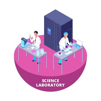 Wetenschapslaboratorium 3d isometrisch onderzoekslaboratorium met laboratoriumapparatuur en wetenschappers