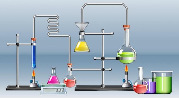 Wetenschapslaboratorium met veel apparatuur
