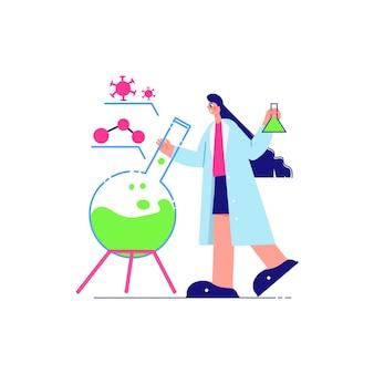 Wetenschapslaboratoriumsamenstelling met karakter van vrouwelijke wetenschapper met laboratoriumfles