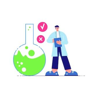 Wetenschapslaboratoriumsamenstelling met mannelijk karakter van wetenschapper en kolf met groene vloeistof
