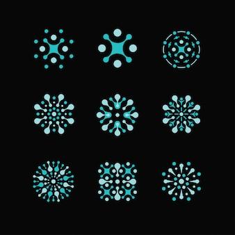 Wetenschapslogo's, biologie, natuurkunde, scheikunde-logo. laboratoriumidentiteit, atoomlogo's, cellen