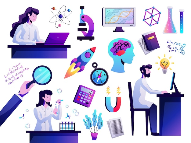 Wetenschapssymbolen vat kleurrijke pictogrammen samen met jonge onderzoeker achter computer atoommodel microscoop geïsoleerd