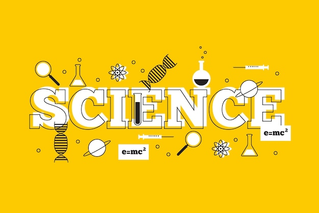 Wetenschapswoord met dna en moleculen