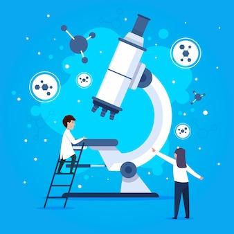Wetenschapswoord met microscoopillustratie
