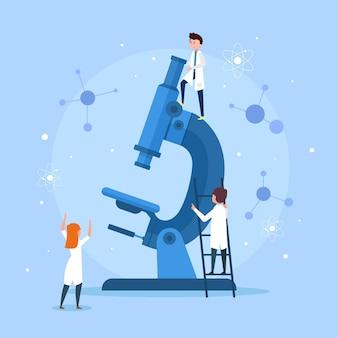 Wetenschapswoord met microscoopstijl