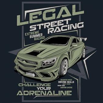 Wettelijke straatraces, vectorautoillustratie