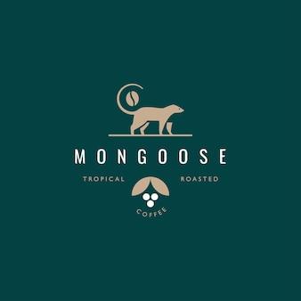 Wezel, mangoest, civet coffeeshop logo ontwerpconcept