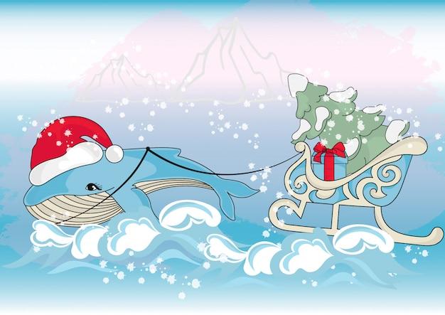 Whale kerstmis nieuwjaars illustratie set