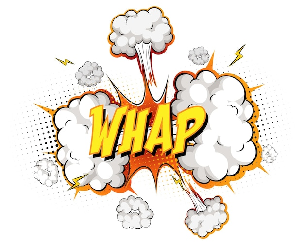Whap-tekst op komische wolkexplosie die op witte achtergrond wordt geïsoleerd