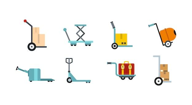 Wharehouse winkelwagen pictogramserie. vlakke reeks van vector geïsoleerde de pictogrammeninzameling van de wharehousekar