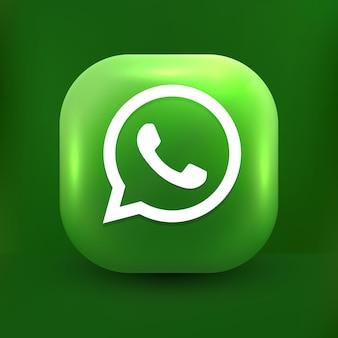 Whatsapp-chatpictogram 3d praatjebellen op witte transparante achtergrond
