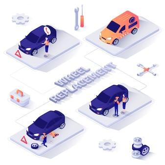 Wheel replacement service isometrische vector banner