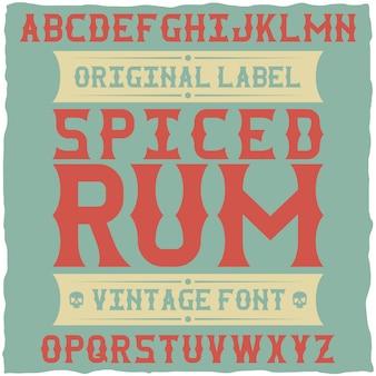 Whiskey fine label font / vintage lettertype voor alcoholische dranken