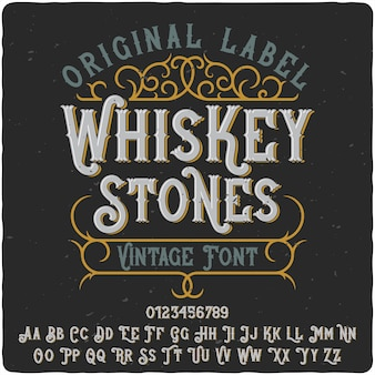 Whiskey stones label lettertype