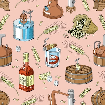 Whisky alcohol brandewijn in glas en whisky of bourbon in fles drinken illustratie set distillatie naadloze patroon achtergrond