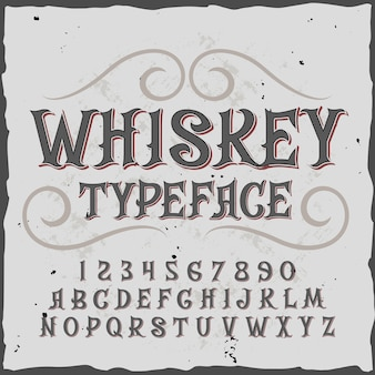 Whisky alfabet met sierlijke cijfers en letters in vintage stijl