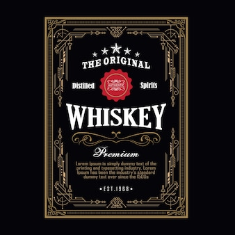 Whisky antieke grens vintage frame westerse gravure label retro vectorillustratie