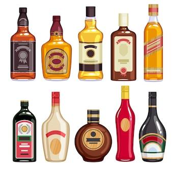 Whisky en drank flessen iconen set.