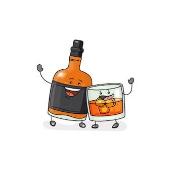 Whisky glas met ijsblokjes fles vector platte pictogram met emoties schets lineaire komische stijl