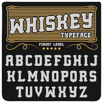 Whisky label lettertype en voorbeeldlabel ontwerp. vintage ogend lettertype in zwart-gouden kleuren, bewerkbaar en gelaagd