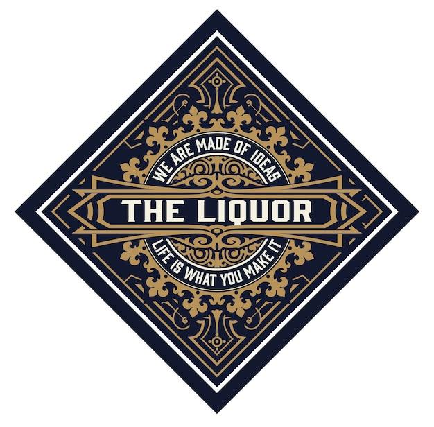Whisky-logo's met florale elementen.