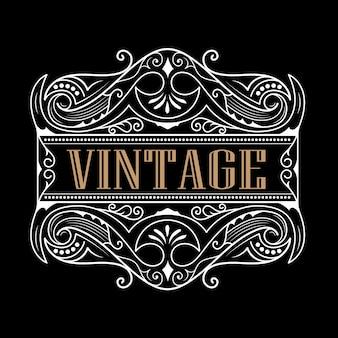 Whisky westerse label antieke typografie vintage frame logo ontwerp