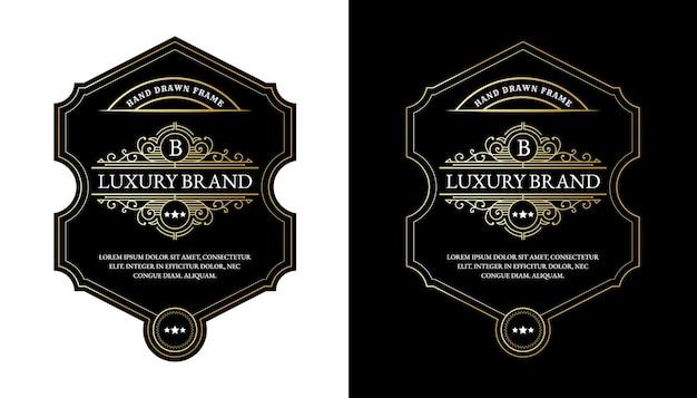 Whiskylabels met logo typografie voor bier whisky alcohol drinkfles verpakking graveren