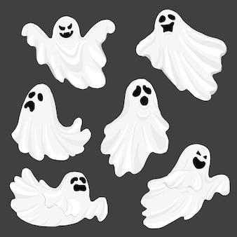 Whisper ghost cartoon geïsoleerd op donkere achtergrond