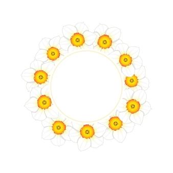 White daffodil - narcissus flower banner wreath