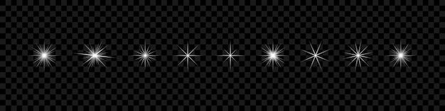 White stars gloeiend lichteffect op transparante achtergrond
