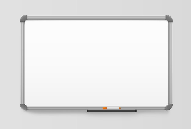 Whiteboard, realistisch bord met kunststof frame. wit markeringsbord of magnetisch prikbord.