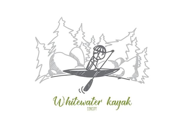Whitewater kajak concept illustratie