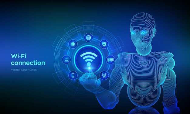 Wi-fi draadloze verbinding concept. gratis wifi-netwerksignaaltechnologie internetconcept. mobiele verbindingszone. wireframed cyborg-hand wat betreft digitale interface.