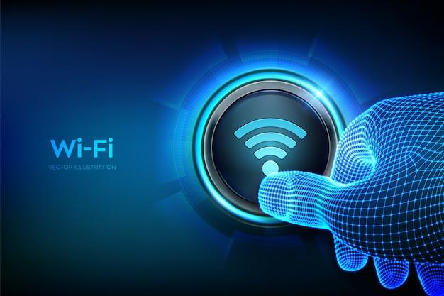 Wi fi-knop. draadloos netwerk verbindingsconcept. close-upvinger ongeveer om op een knop te drukken.