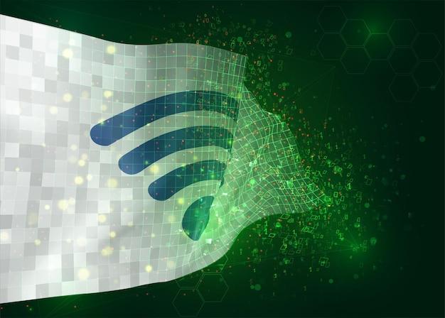 Wi-fi, op vector 3d-vlag op groene achtergrond met veelhoeken en gegevensnummers