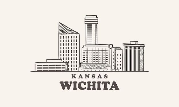 Wichita skyline kansas getrokken schets