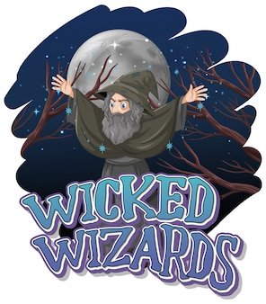Wicked wizards logo op witte achtergrond