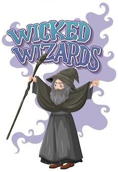 Wicked wizards-logo op witte achtergrond