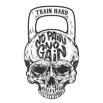Wie mooi wil zijn moet pijn lijden. train hard. schedel in de vorm van een gewicht. element