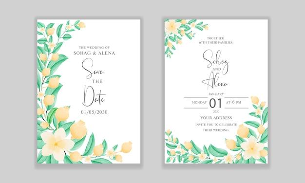 Wieden uitnodigingen kaart sjabloonontwerp met vector bloemen