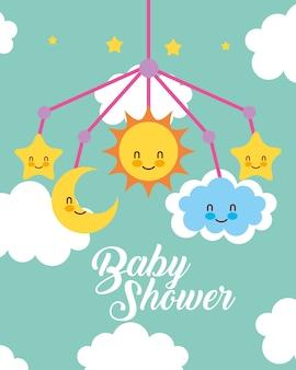 Wieg mobiel speelgoed wolken baby shower kaart
