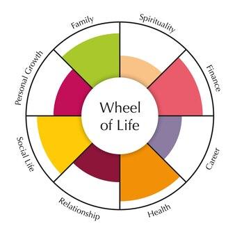 Wiel des levens sjabloon diagram grafiek van coaching tool concept vector